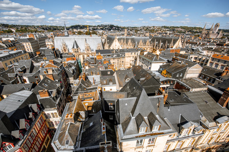 Top view on the rooftops of the old town of Rouen city during the sunny day in Normandy, France