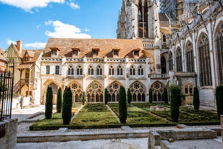 Backyard of the famous Rouen cathedral in Rouen, the acpital of Normandy region in France