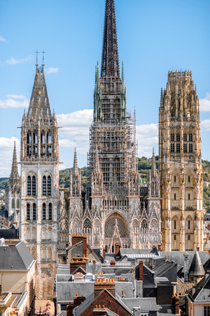 Aerial citysape view of Rouen with famous cathedral during the sunny day in Normandy, France