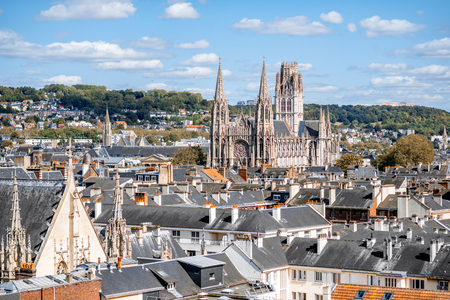 Aerial citysape view of Rouen with saint Queen cathedral during the sunny day in Normandy, France