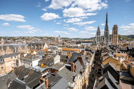 Aerial citysape view of Rouen during the sunny day in Normandy, France
