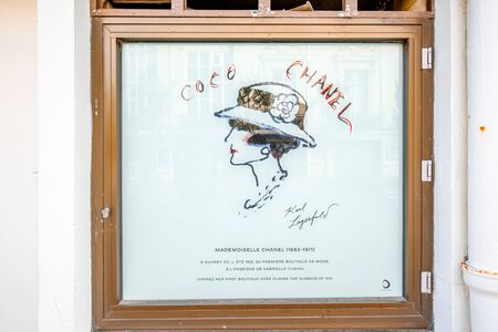 DEAUVILLE, FRANCE - September 06, 2017: First store front of the famous Coco Chanel located between the casino and the Hotel Normandy in Deauville 報道画像