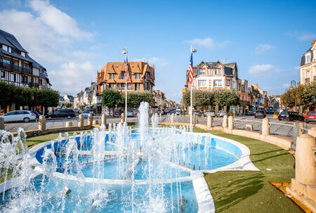 DEAUVILLE, FRANCE - September 06, 2017: Central fountain on the road crossings in Deauville, famous french town in Normandy Editorial