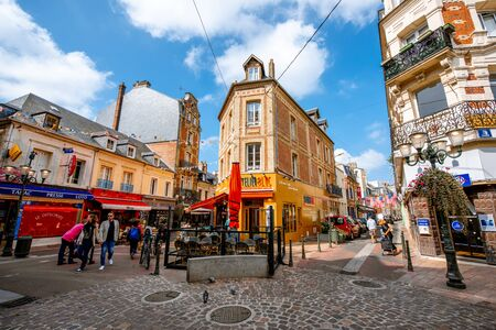 TROUVILLE, FRANCE - September 06, 2017: Street view with beautiful buildings in Trouville, famous french town in Normandy Editorial