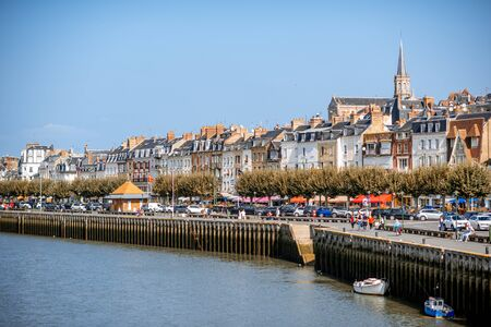 TROUVILLE, FRANCE - September 06, 2017: Landscape view on the riverside of trouville village, famous french resort in Normandy