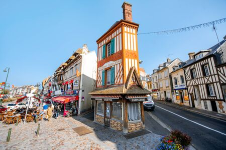 TROUVILLE, FRANCE - September 06, 2017: Street view with colorful buildings in Trouville, Famous french town in Normandy