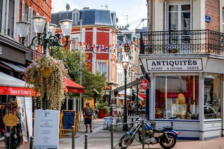 TROUVILLE, FRANCE - September 06, 2017: Street view with beautiful buildings in Trouville, famous french town in Normandy