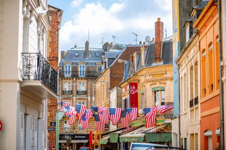 TROUVILLE, FRANCE - September 06, 2017: Street decorated with american flags during the american cinema festival in Deauville, famous french town in Normandy Editorial