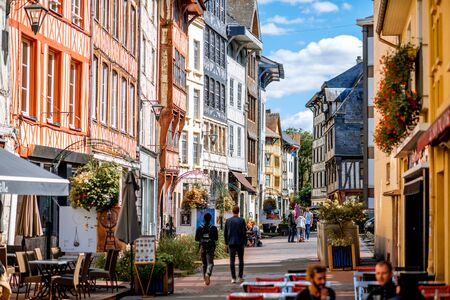 ROUEN, FRANCE - September 07, 2017: Street view with beautiful half-timbered houses in the old town of Rouen city, the capital of Nrmandy region in France Editorial