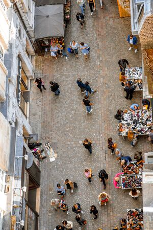 ROUEN, FRANCE - September 07, 2017: Top view on the crowded street with tourists in Rouen old town