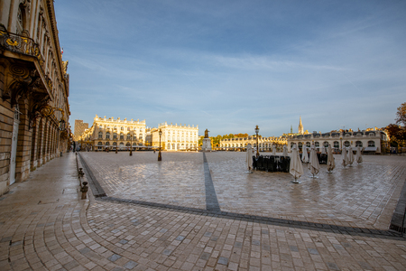 Morning view on the huge Stanislas square with monument in the old town of Nancy city, France. Wide view with copy space