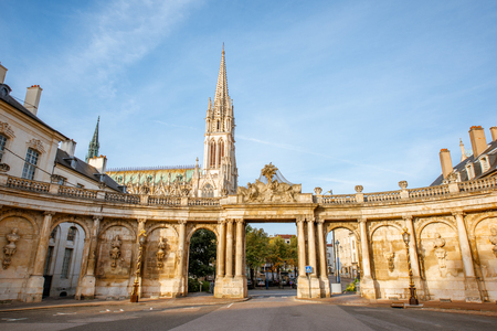 Citysape view on the old town with Saint Epvre cathedral in Nancy city, France