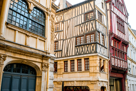 Ancient half-timbered houses on the street of the old town in Rouen city, the capital of Normandy region in France Stock Photo