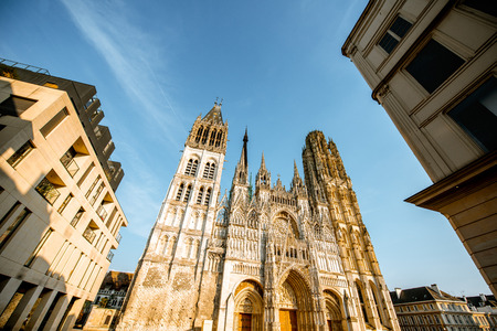 View from below on the facade of the famous Rouen gothic cathedral in Rouen city, the capital of Normandy region in France Stock Photo