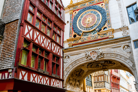 Close-up view of the Great-clock, famous astronomical clock in Rouen, the capital of Normandy region
