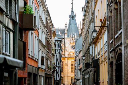 Street view with ancient buildings in Rouen, the capital of Normandy region in France