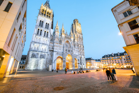 Night view on the famous illuminated cathedral in Rouen city, the capital of Normandy region in France Stock Photo