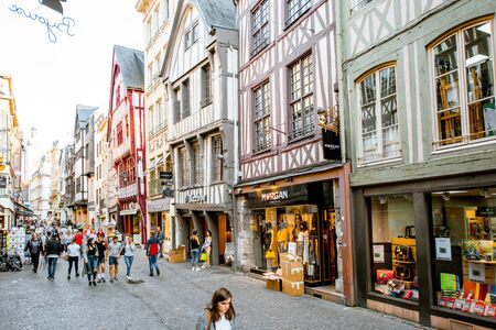 ROUEN, FRANCE - September 03, 2017: Ancient half-timbered houses on the street of the old town in Rouen city, the capital of Normandy region in France