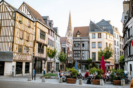 ROUEN, FRANCE - September 03, 2017: Ancient houses on the street of the old town in Rouen city, the capital of Normandy region in France