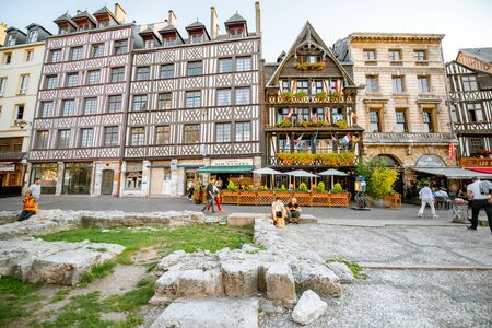 ROUEN, FRANCE - September 03, 2017: Beautiful houses on the old market square in Rouen city, the capital of Normandy region in France