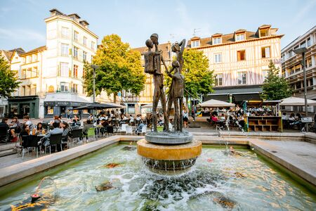 ROUEN, FRANCE - September 03, 2017: Modern fountain sculptures on the square in the old town of Rouen city, the capital of Normandy region in France