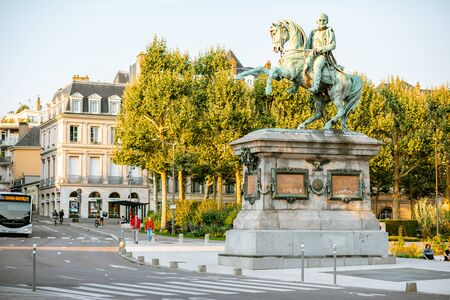 ROUEN, FRANCE - September 03, 2017: Street view with Napoleon monument near the town hall building in Rouen city, France