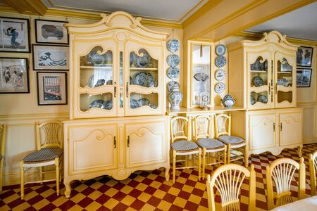 GIVERNY, FRANCE - September 03, 2017: Interior of Claude Monets home in Giverny, famous french impressionist painter in France