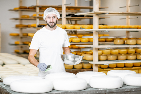 Man rubing cheese wheels with wax at the cheese manufacturing with shelves full of cheese on the background Stock Photo