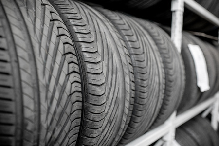 Close-up of a wheel protectors of summer tires at the warehouse Stok Fotoğraf