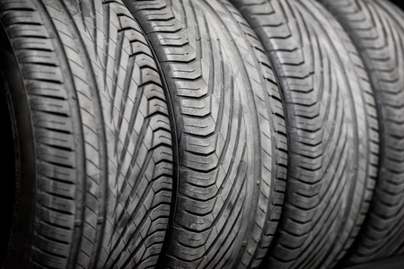 Close-up of a wheel protectors of summer tires at the warehouse Stock Photo