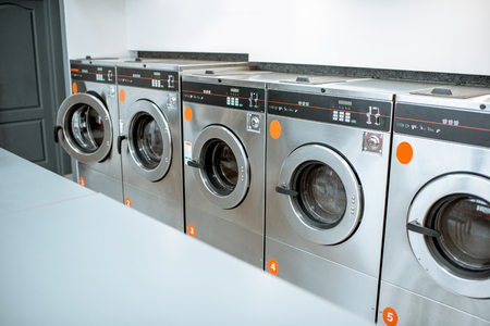 Professional washing machines at the self-service laundry