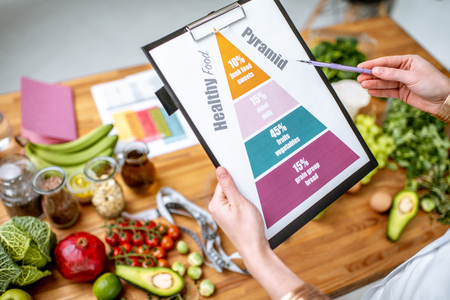 Halten eines schematischen Ernährungsplans für die Ernährung mit verschiedenen gesunden Produkten im Hintergrund