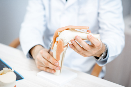 Close-up of the therapist showing knee joint model during the medical consultation Foto de archivo