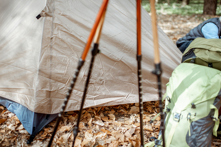 Close-up of trekking sticks, tent and backpacks in the forest