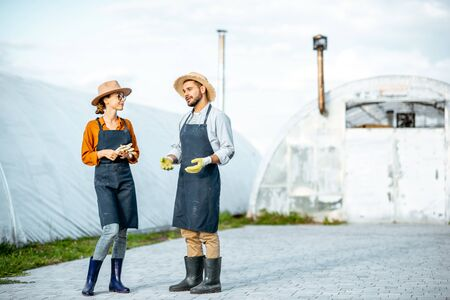 Two well-dressed farmers or agronomists standing on a farm with hothouses on the background Reklamní fotografie