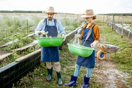 Well-dressed farmers standing on the farmland with green buckets for feeding snails on a farm outdoors. Concept of agribusiness and farming Foto de archivo