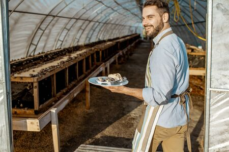 Portrait of a handsome chef cook standing with cooked snails in the hothouse of a farm for growing snails. Restaurant with own production of snails Stock fotó - 127936193