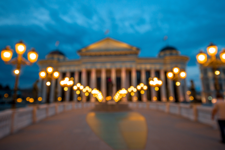 Defocused National Archaeological museum in Skopje with evening light
