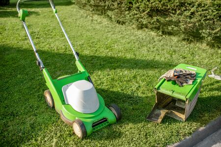Green lownmower on the grass on the backyard Stockfoto