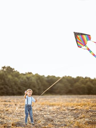Kid launching colorful air kite on the field. Concept of a happy childhood and fun during the summer activity