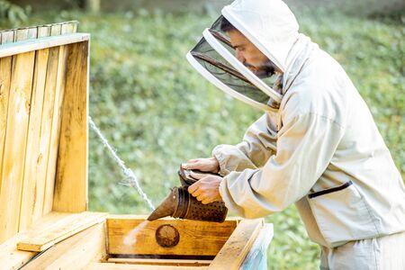 El apicultor fumando abejas con abejas fumador en el colmenar