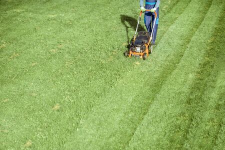 Professional gardener in protective workwear cutting grass with gasoline lawn mower on the backyard, View from above with copy space