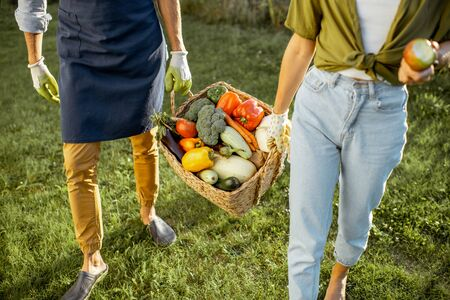 Man and woman carrying basket full of freshly picked up home grown vegetables at the countryside, close-up with no face