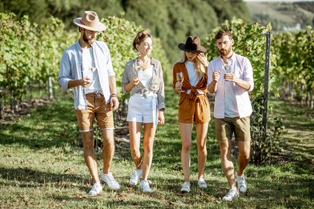 Group of young friends dressed casually having fun together, walking with wine glasses on the vineyard on a sunny summer morning Stockfoto