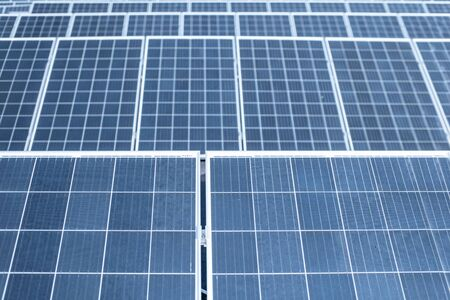 Close-up of solar panels on photovoltaic power plant 스톡 콘텐츠