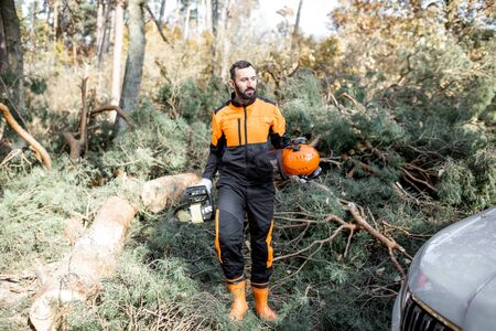 Portrait of a professional lumberman in protective workwear logging with chainsaw in the forest Banque d'images