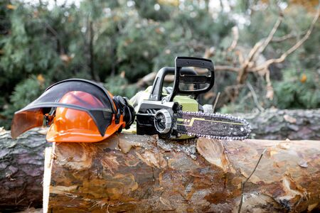 Electric chainsaw and protective hardhat on the wooden log in the forest, Concept of a professional logging with chainsaw 写真素材