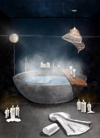 Intreior color sketch of a bathrrom with a ful steaming bath, towels and candles on the blue wall background