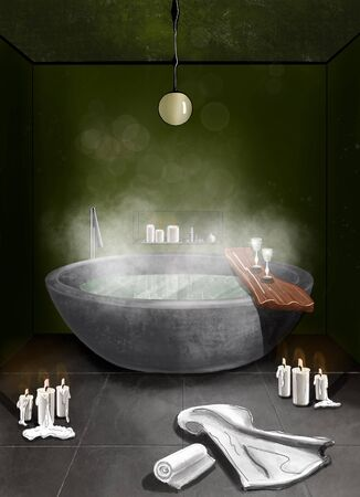 Intreior color sketch of a bathrrom with a ful steaming bath, candles and towels on the green wall background Stock Photo
