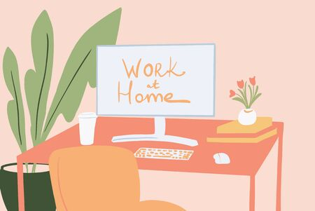 Cozy workplace with a desktop monitor and flowers at home. Colorful vector illustration in flat cartoon style
